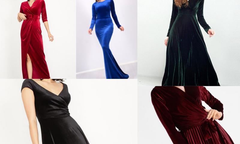 Kadife Elbise Modelleri